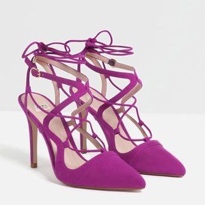 New Zara Purple Lace Up Suede Heels 7.5